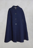 Poncho Coat in Blu Profondo