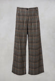 Prince of Wales Check Wide Leg Trousers in Beige
