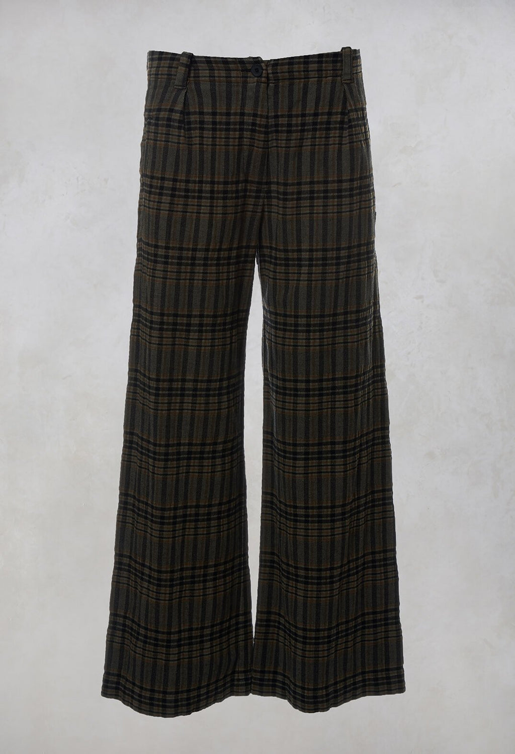 Prince of Wales Check Wide Leg Trousers in Khaki