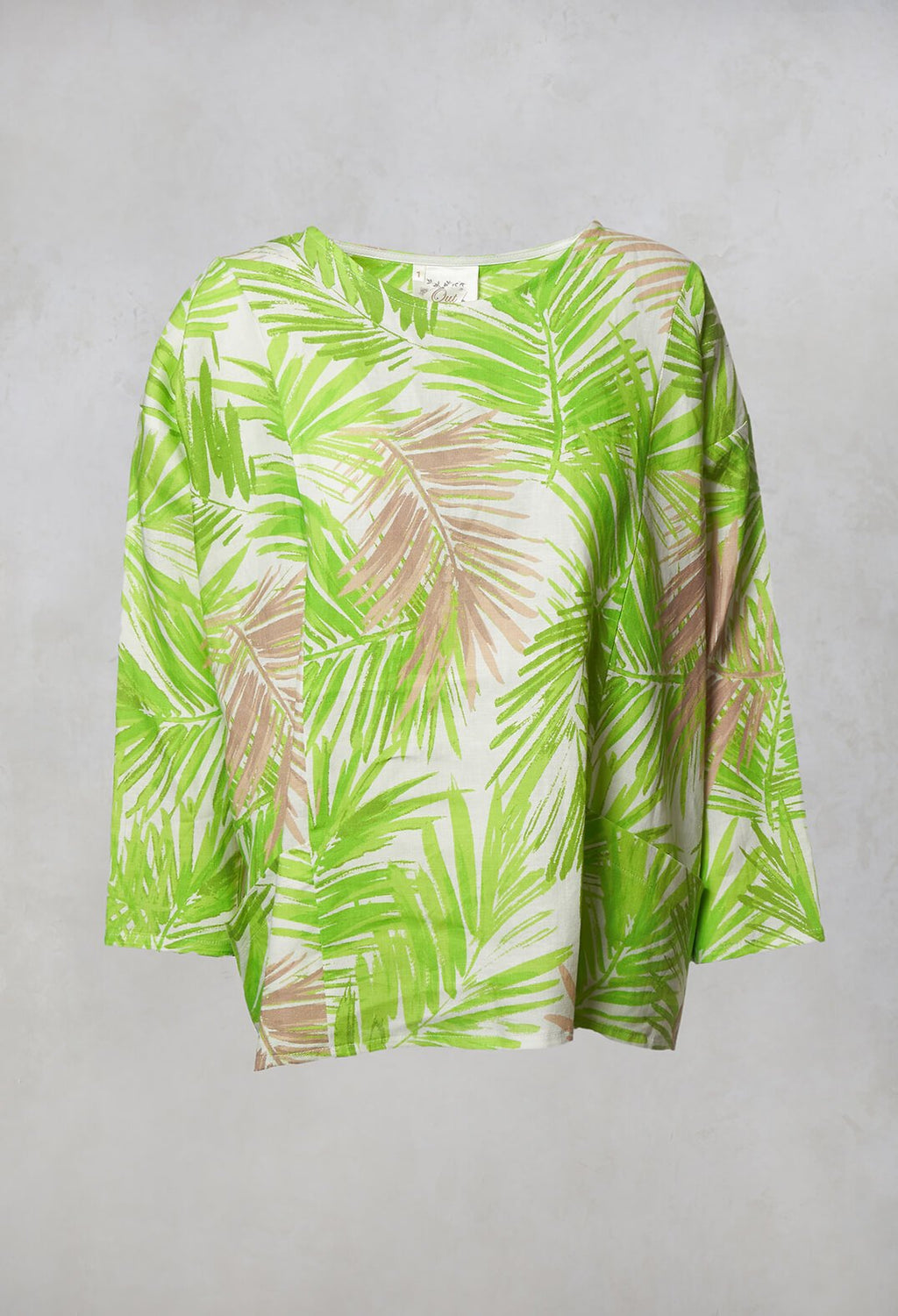 Printed Linen Button Back Top in Lime