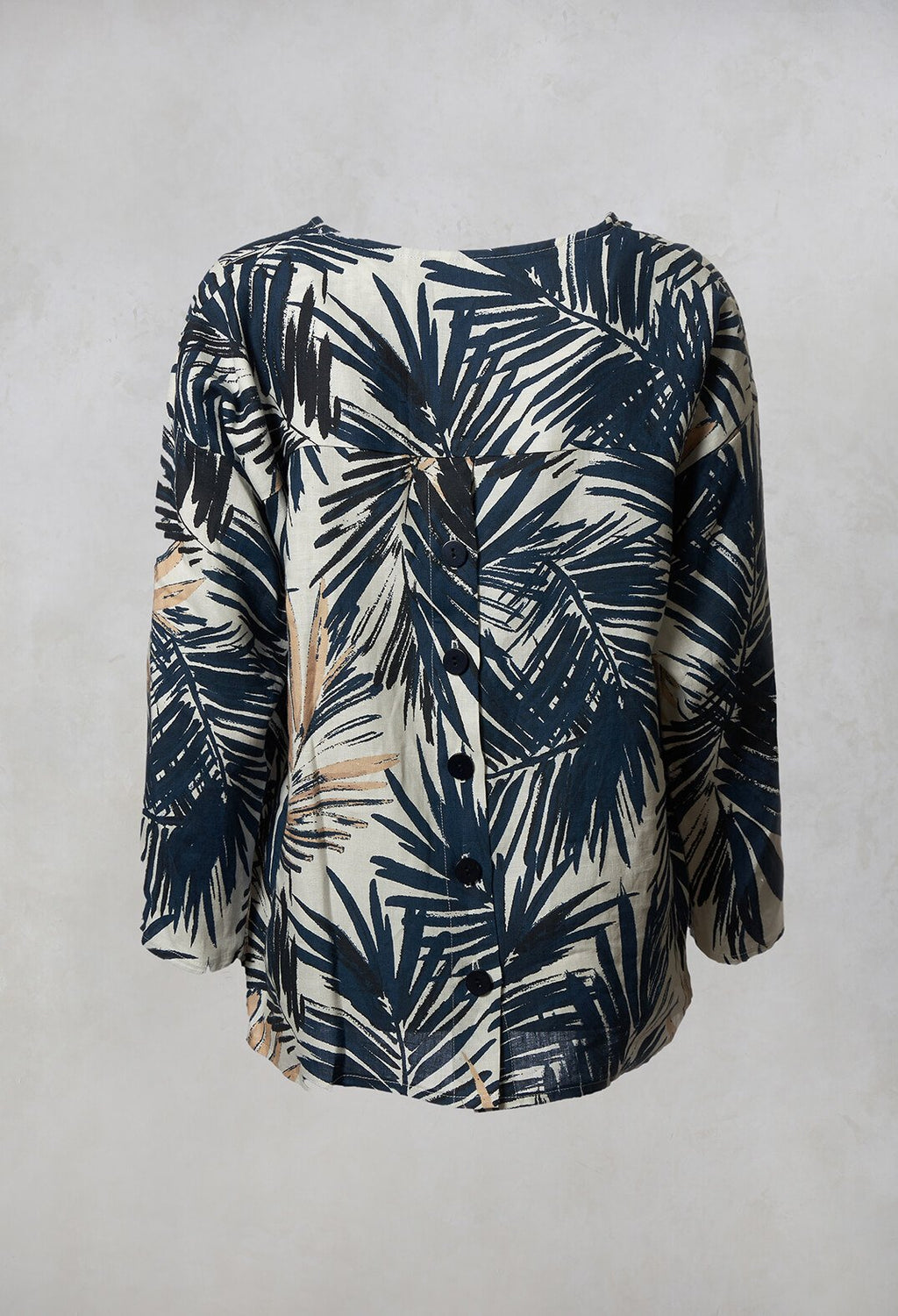 Printed Linen Button Back Top in Navy