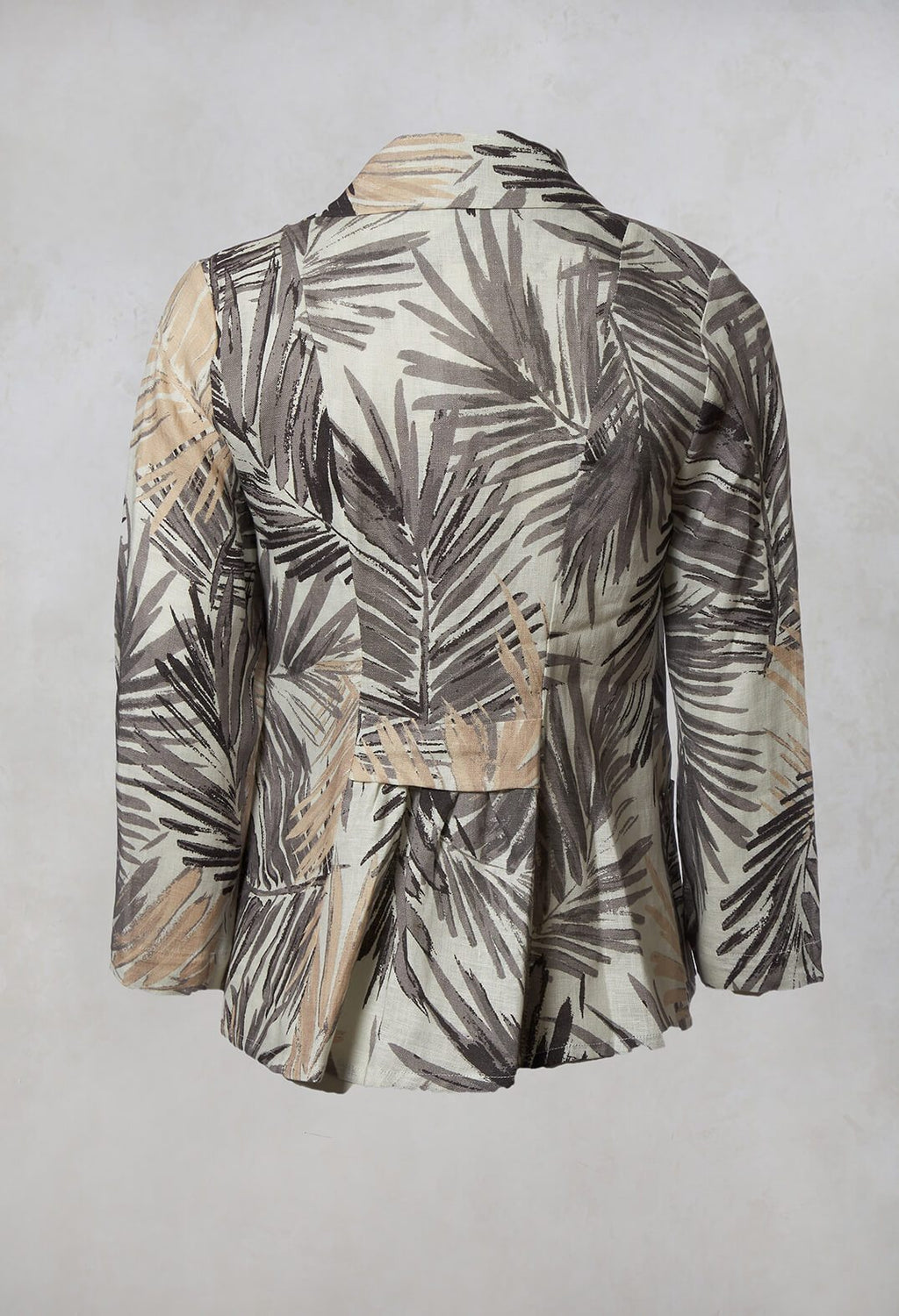 Printed Linen Jacket in Grey