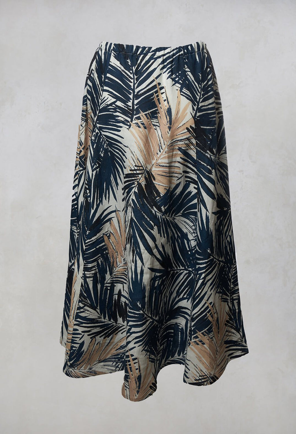 Printed Linen Maxi Skirt in Navy