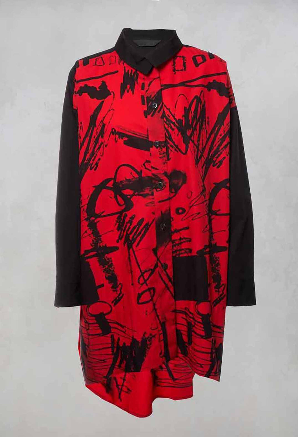 Printed Longline Shirt in Red / Black