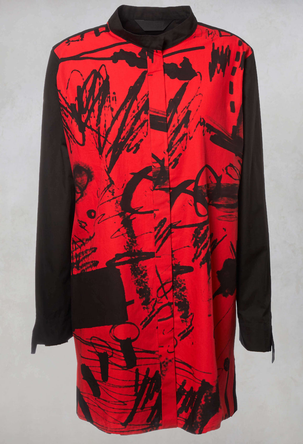 Printed Shirt in Black / Red