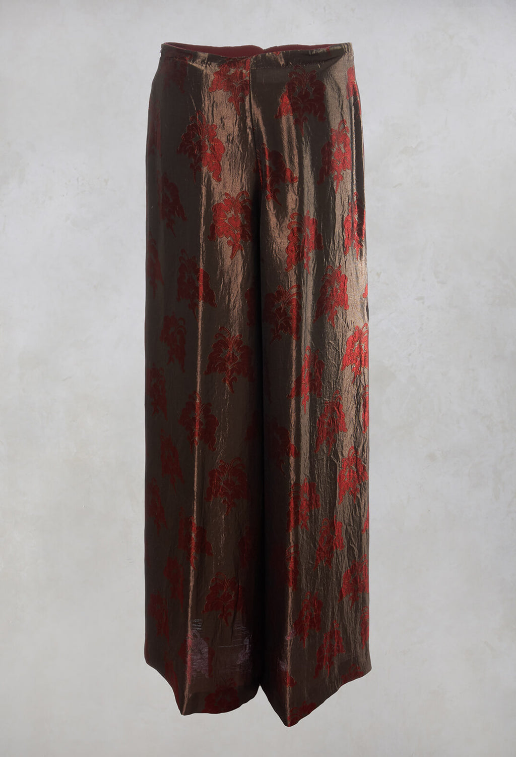Printed Wide Leg Trousers in Moro / Beige / Oro