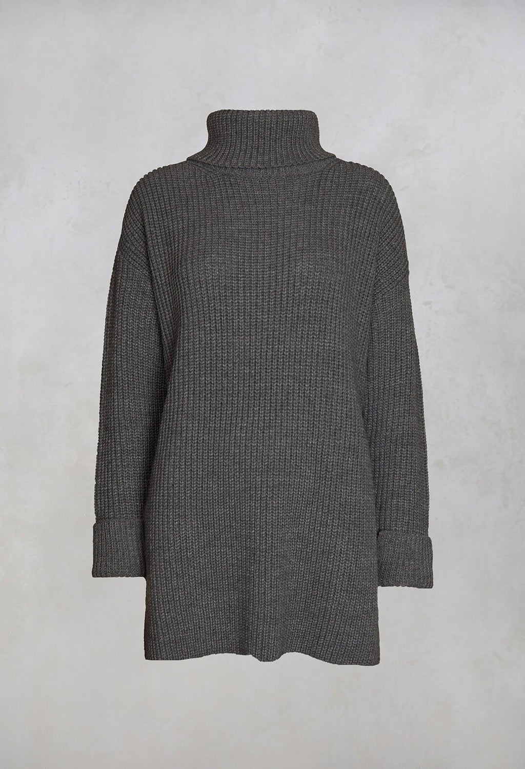 Ribbed Roll Neck Jumper in Asfalto
