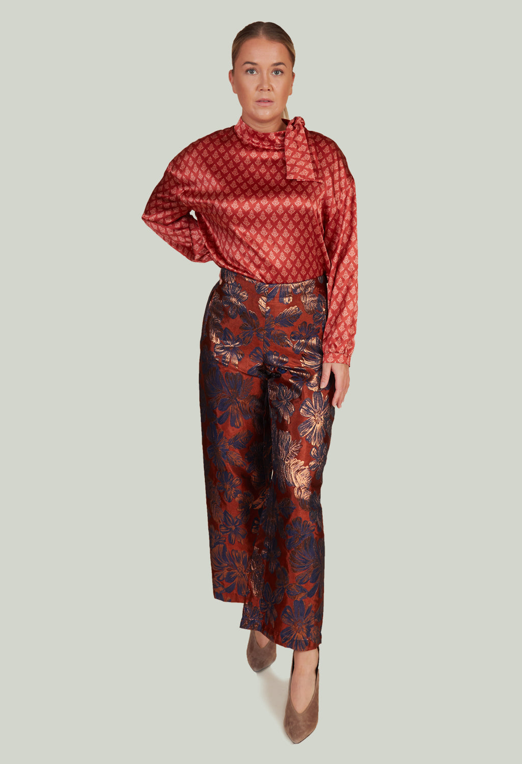 Printed Bojan Wide Leg Trousers in Copper