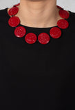 Round Discs Choker in Red