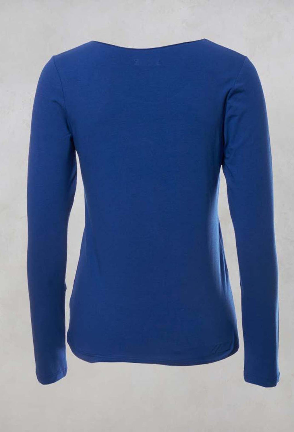 Round Neck Long Sleeved Top in Blue