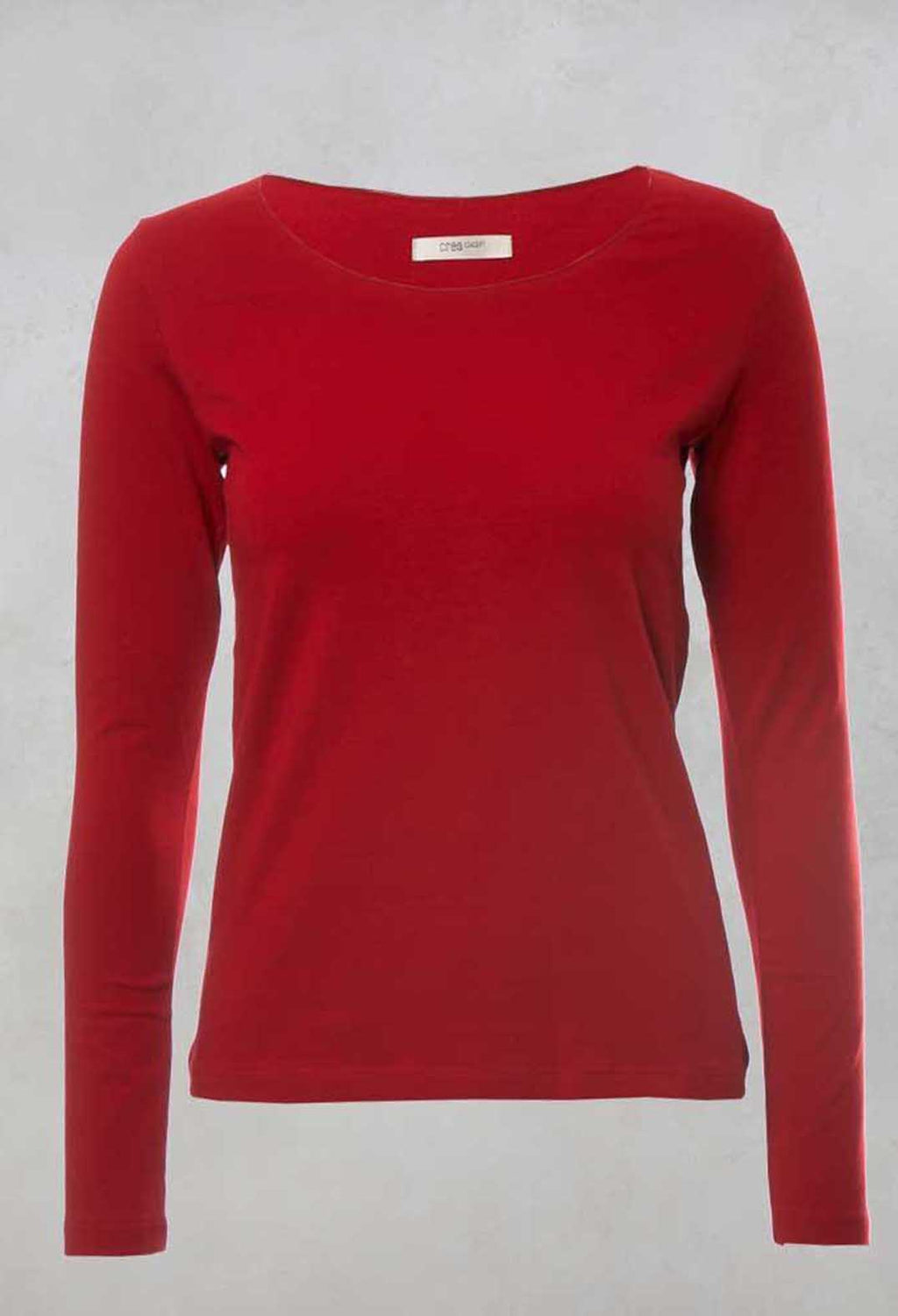 Round Neck Long Sleeved Top in Red