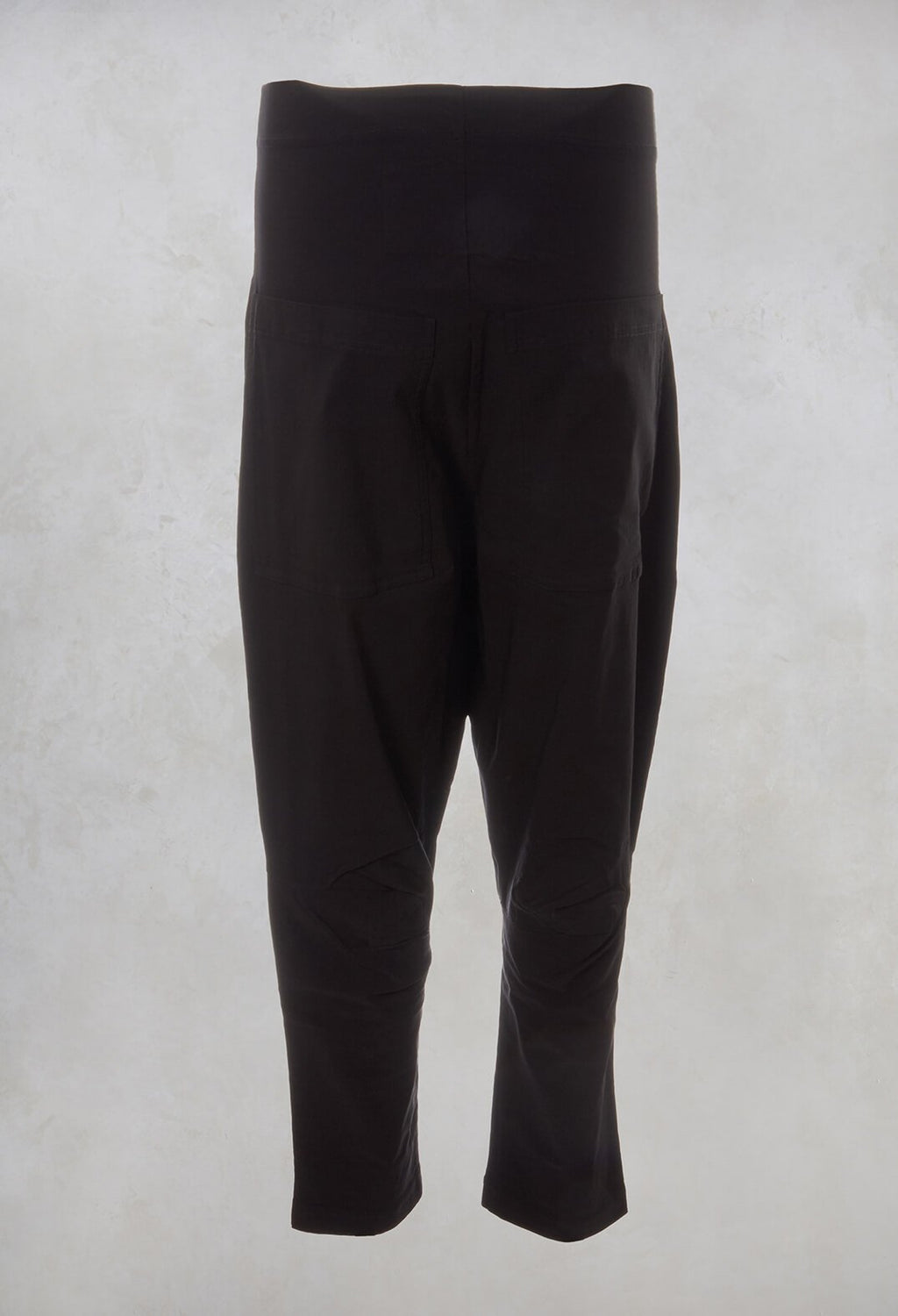 Ruched Drop Crotch Trousers in Dark Grey
