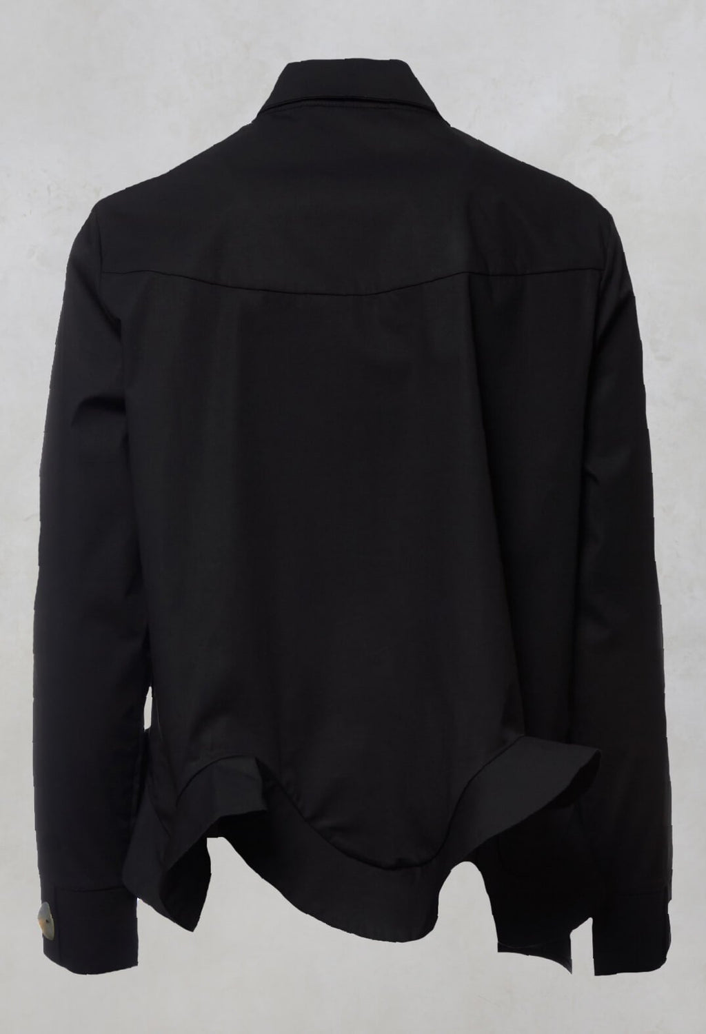 Ruffle Front Shirt in Mineo Black