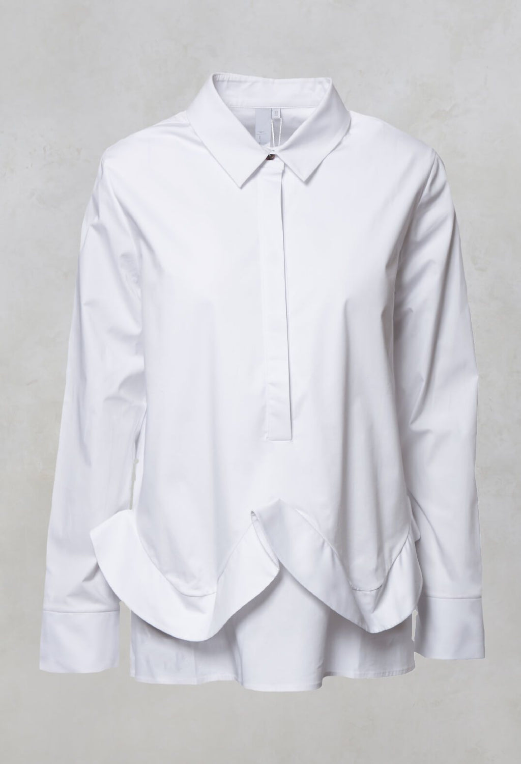 Ruffle Front Shirt in Mineo