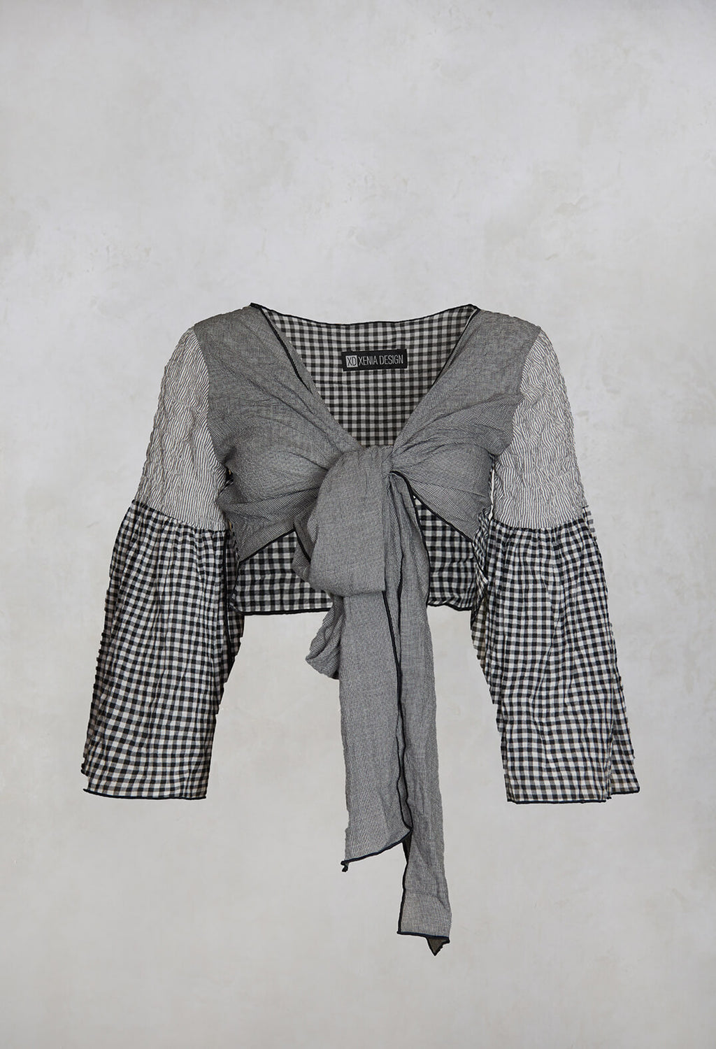 Span Cropped Tie Jacket in Gingham Check