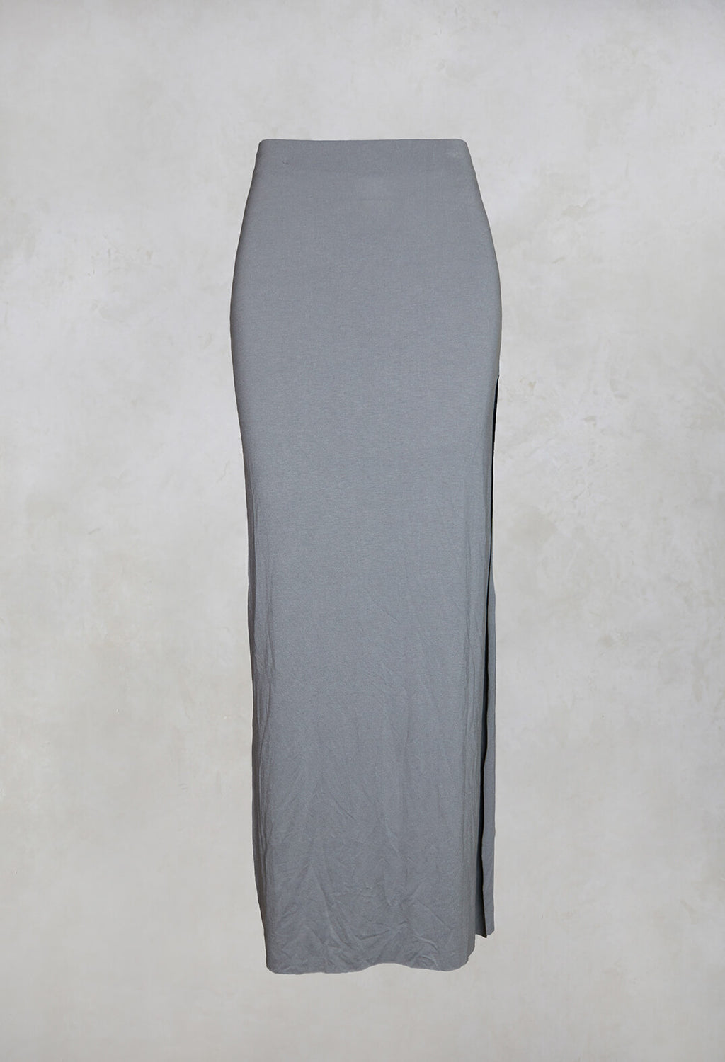 Zigi Long Jersey Fitted Skirt in Light Grey