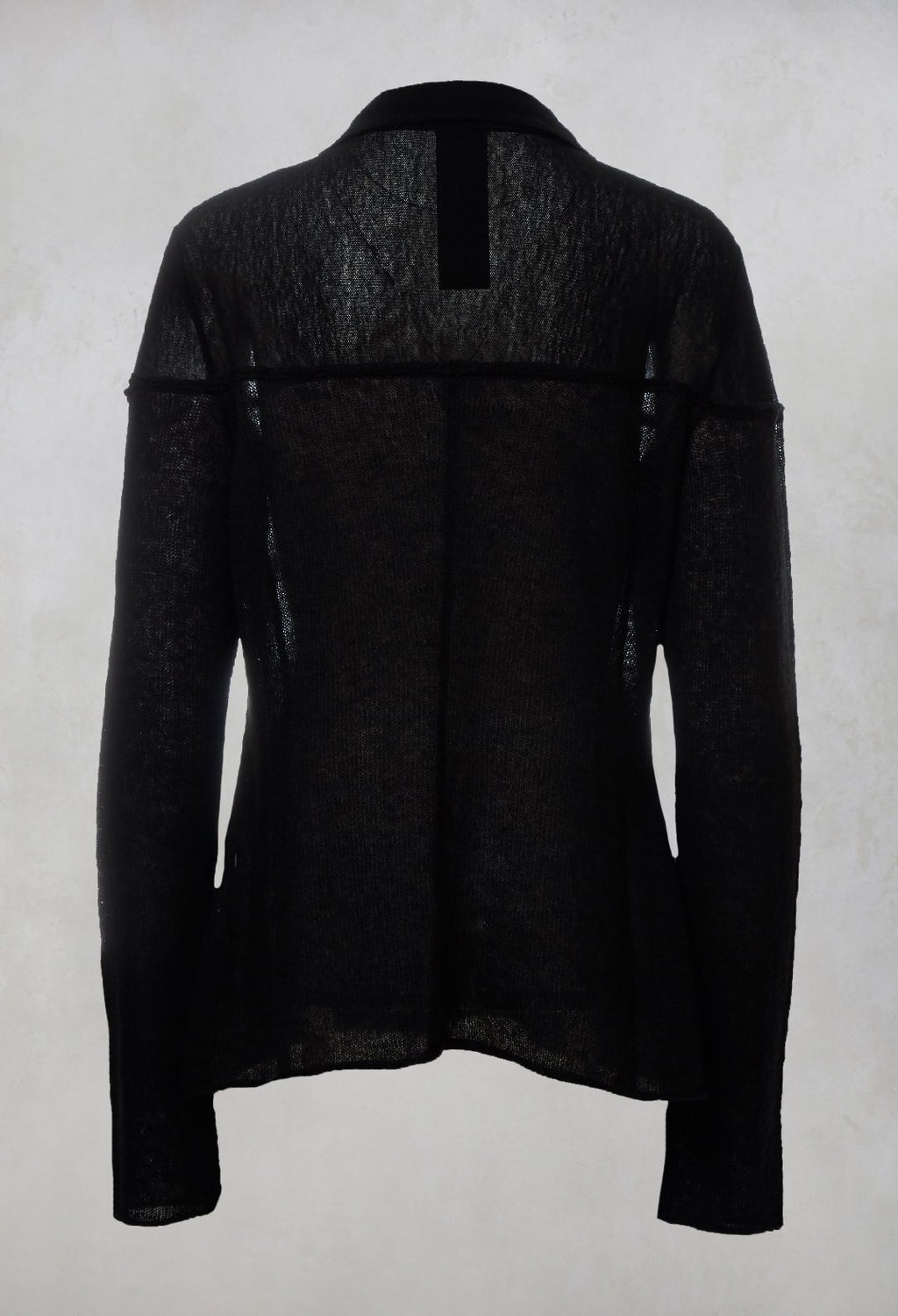 Sheer Knitted Cardigan in Black