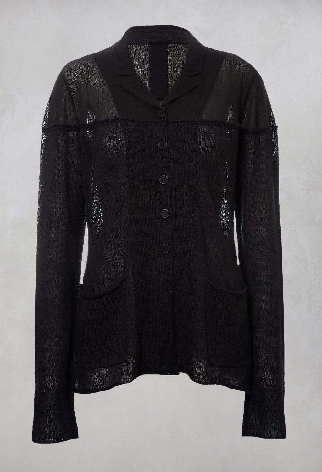 Sheer Knitted Cardigan in Dark Grey