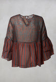 Sheer Peplum Top in Slate