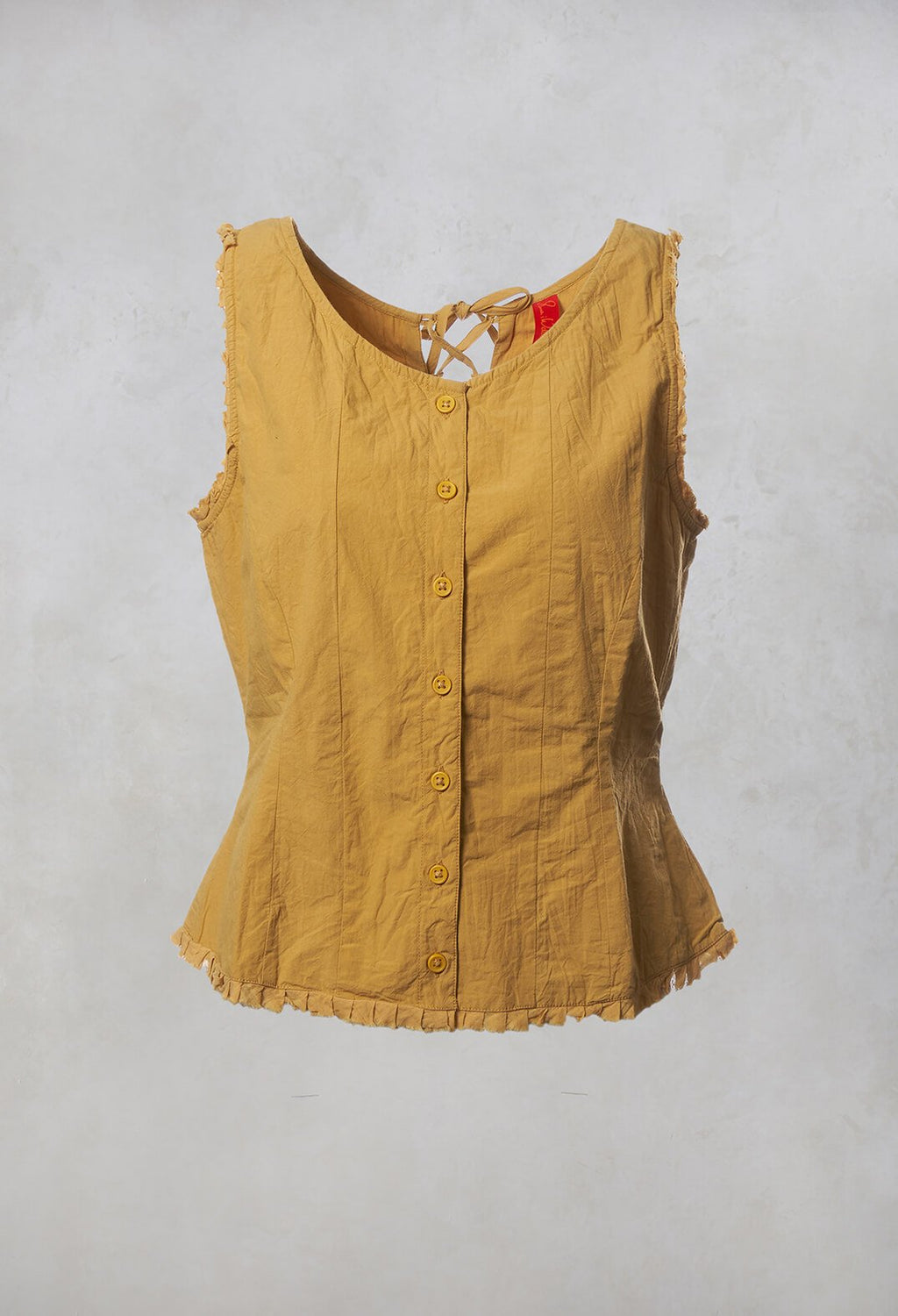 Shirt Cotton Vest Top in Wheat