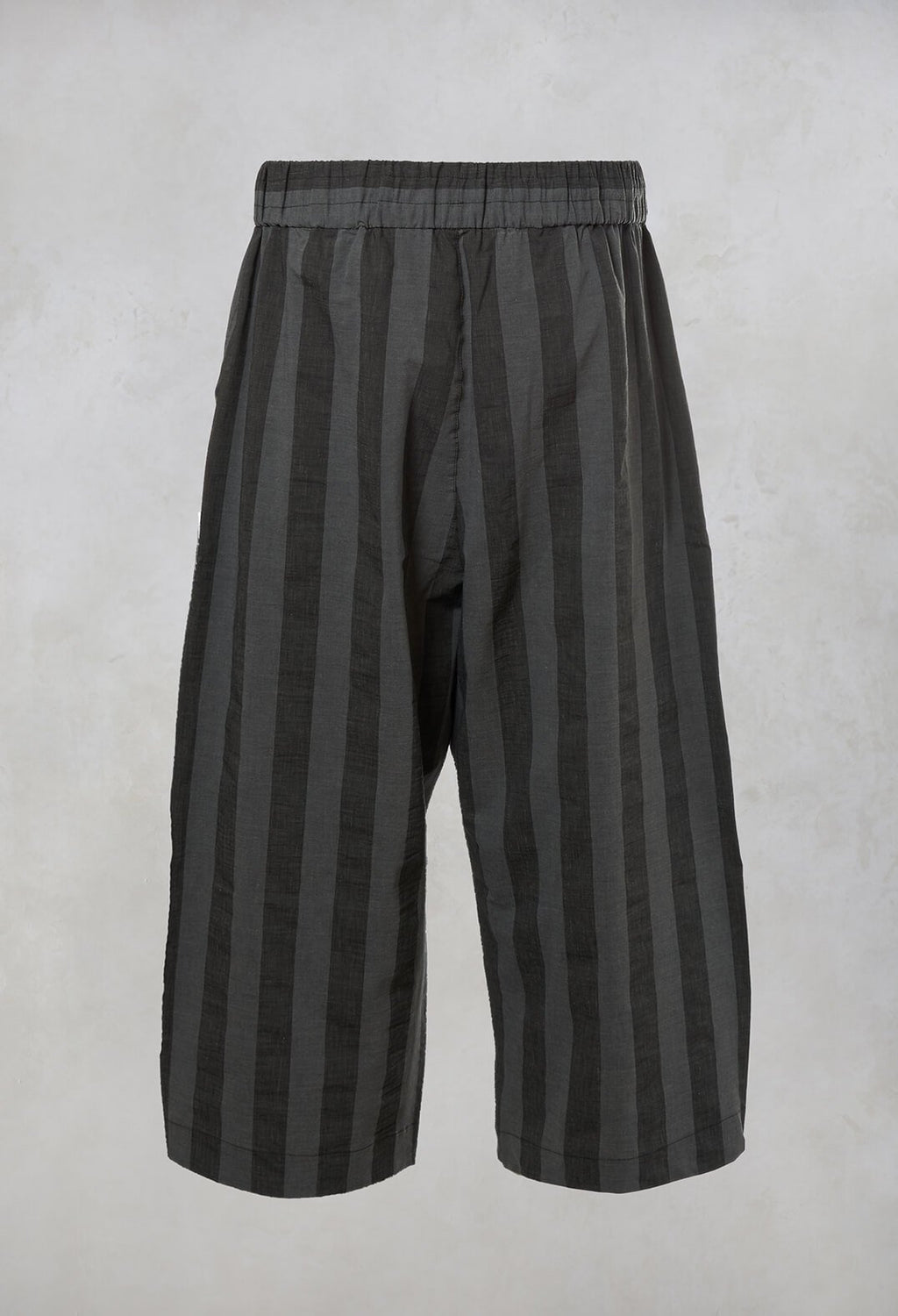 Short Striped Trousers in Dark Grey