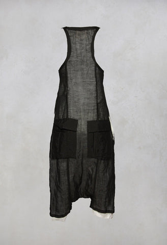 Sleeveless Jumpsuit in Black / White