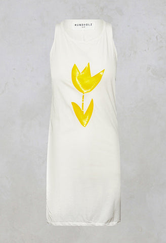 Sleeveless Vest Top in Yellow Print