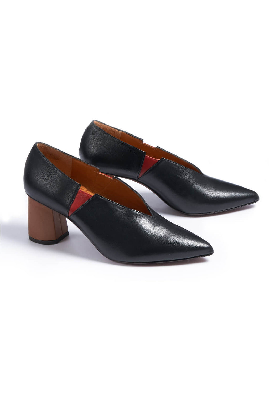 Slip On Heeled Shoes in Goya / Negro / Granate