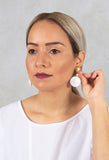 Small Conic Bon Con Earrings in White