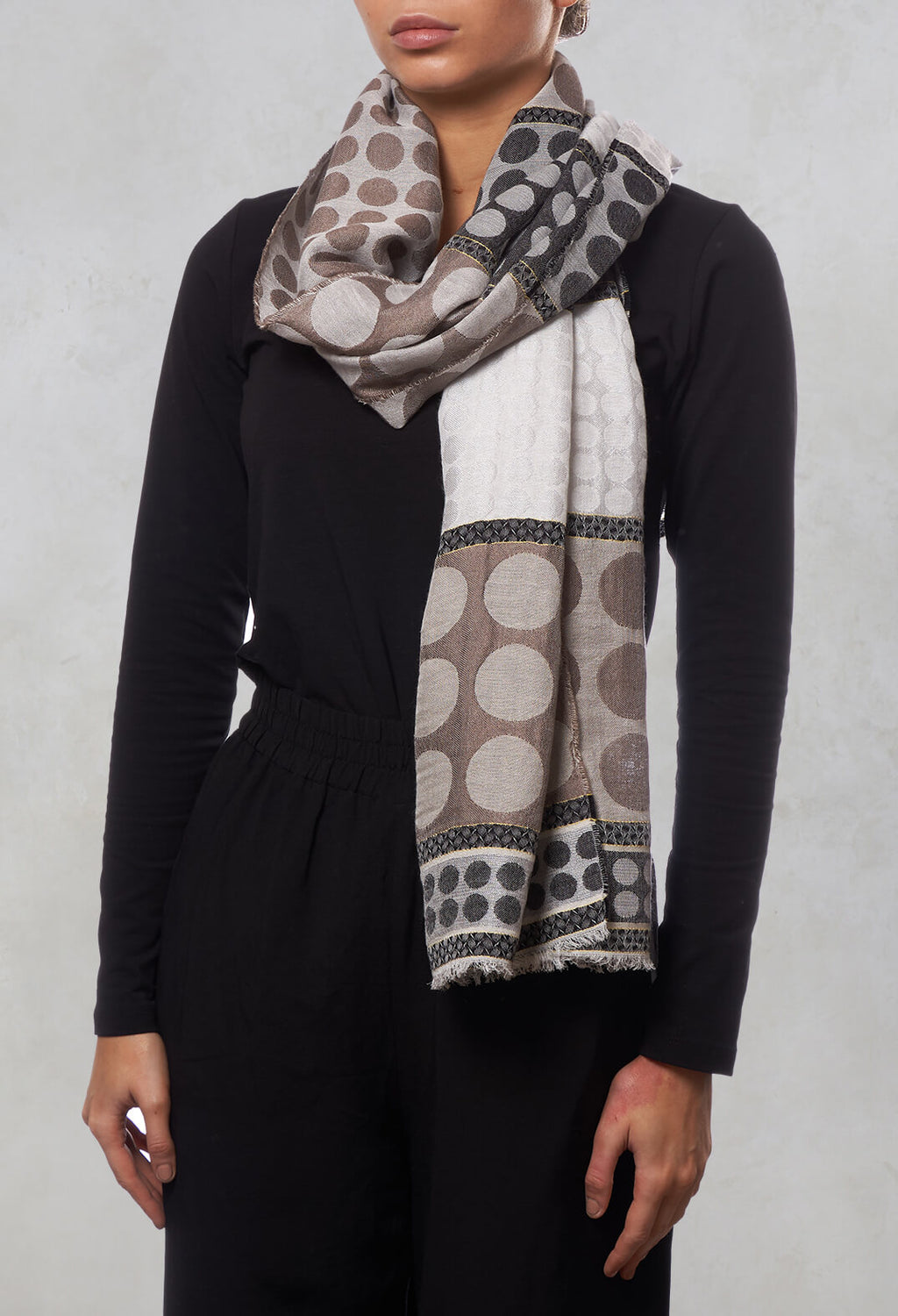 Spot Print Scarf in Brown