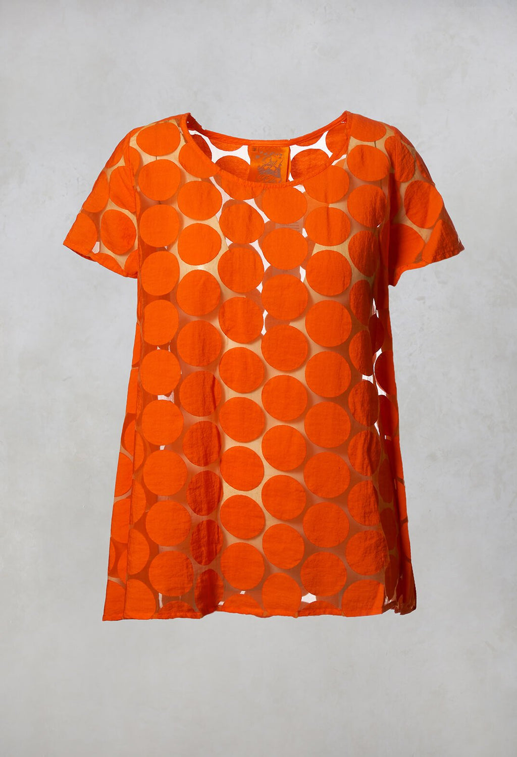 Spot Sheer Short Sleeve Tunic in Orange