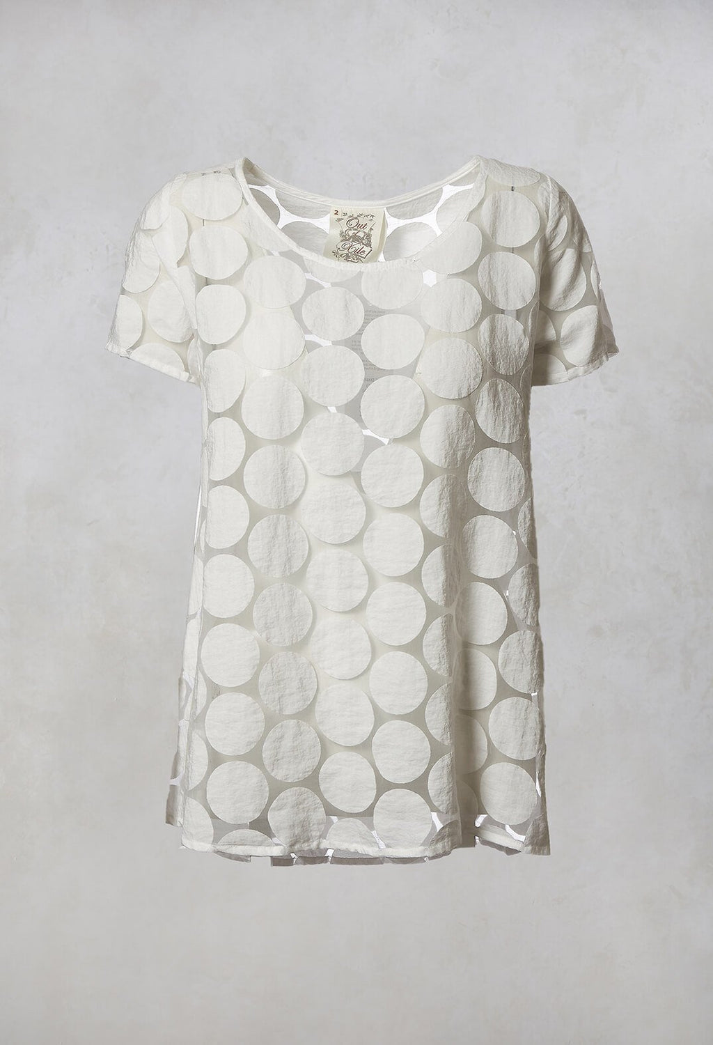 Spot Sheer Short Sleeve Tunic in White