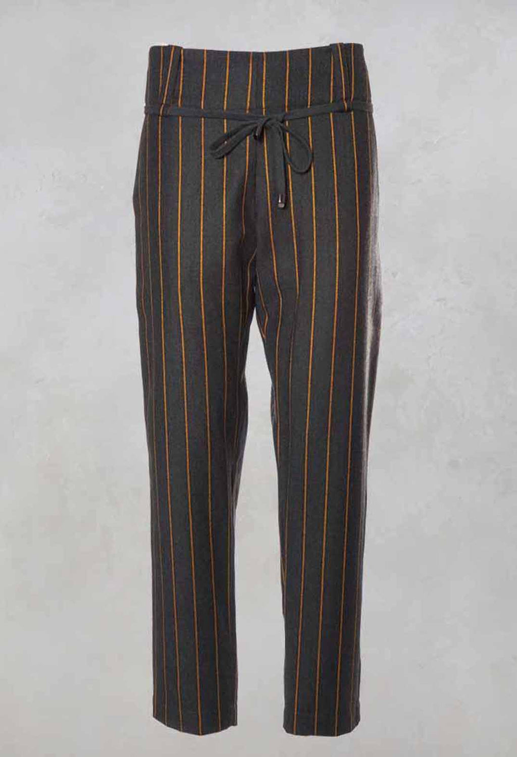Straight Pinstripe Trousers in Grey