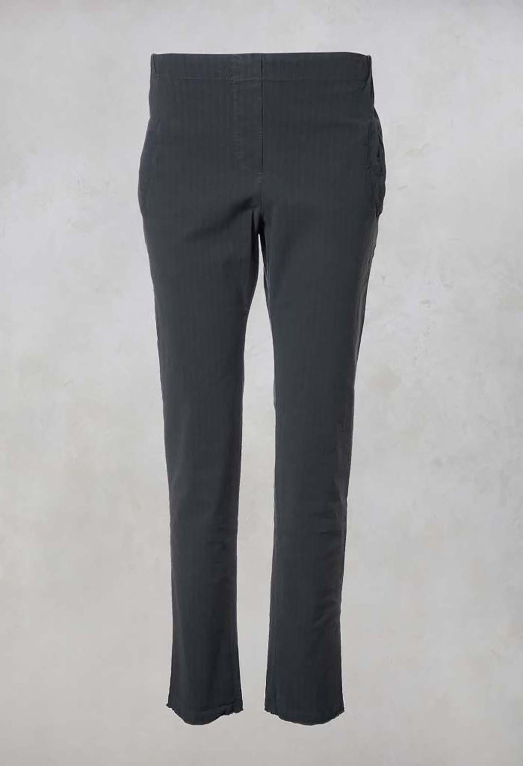 Straight Leg Pinstripe Trousers in Graphite