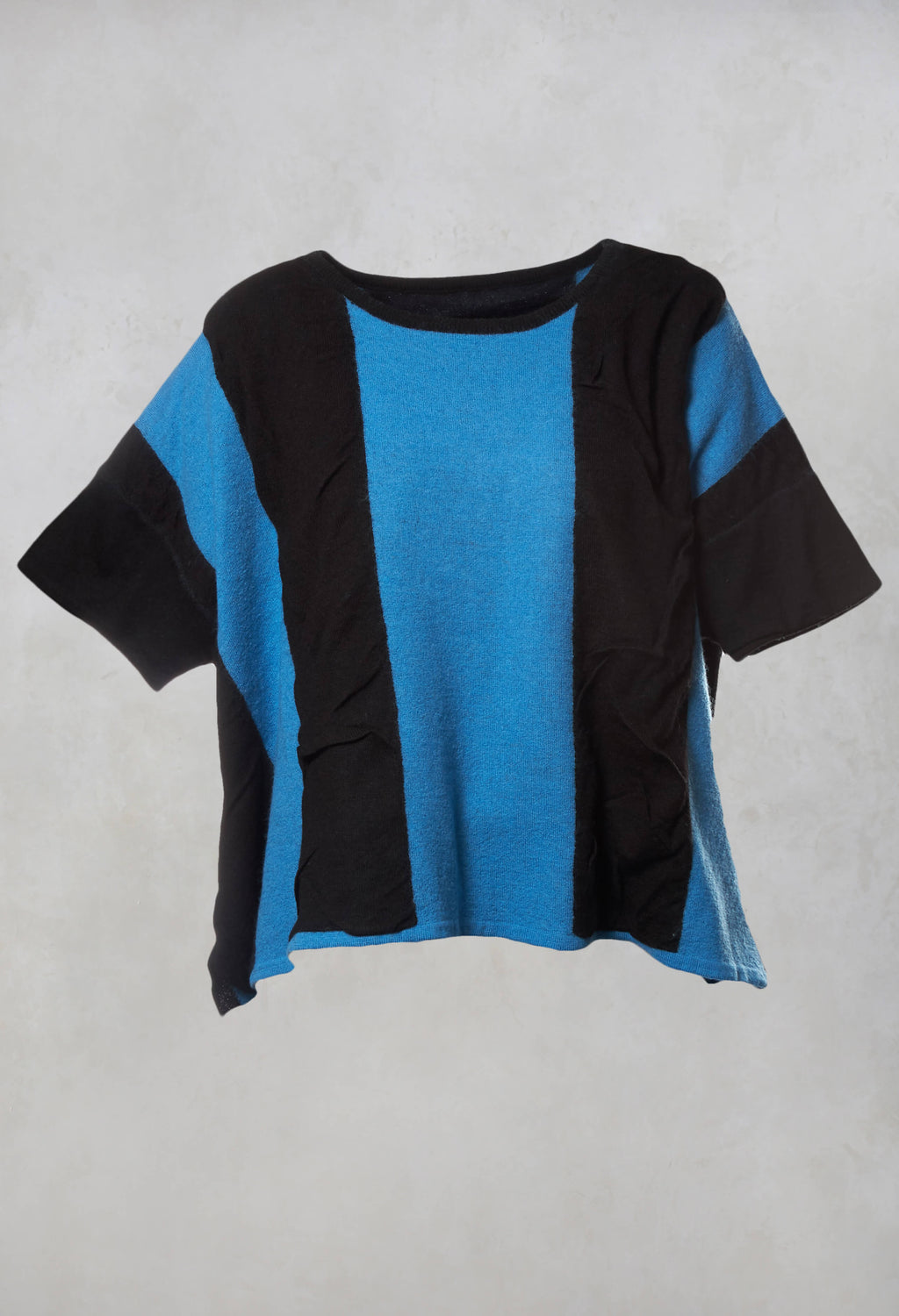 Striped Knitted Top in Black / Blue