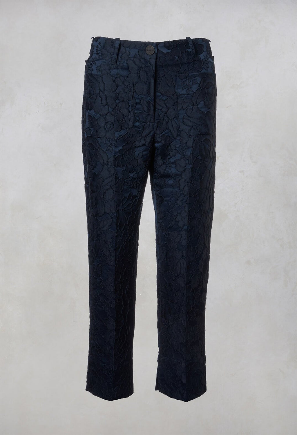 Textured Trousers in Dark Blue