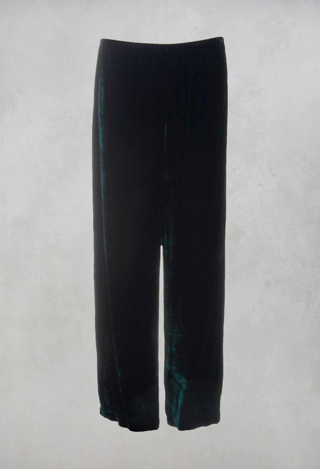 Velvet Wide Leg Trousers in Emerald