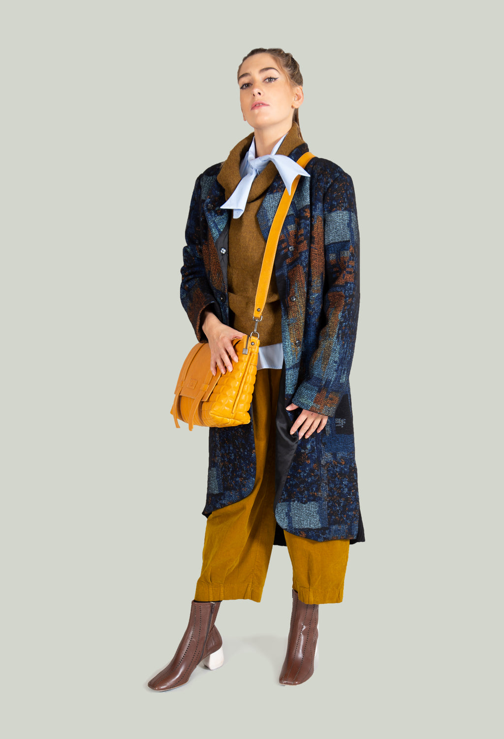 Woven Duster Coat in Black / Khaki