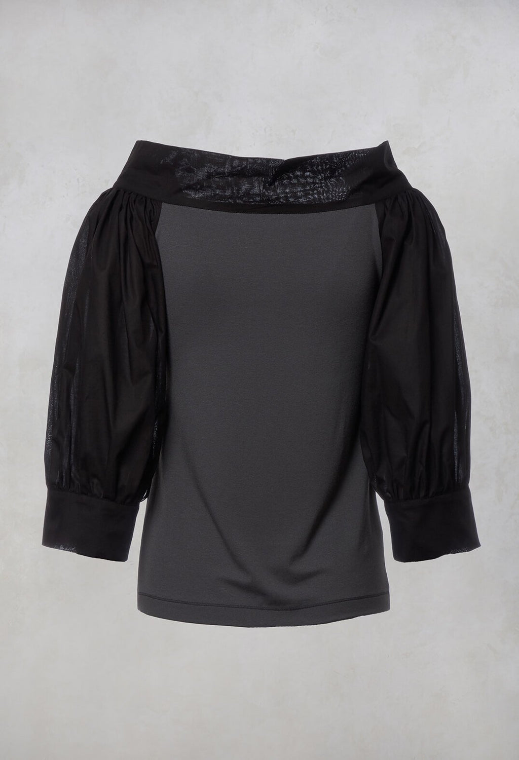 Wide Neck Top in Black-Grey