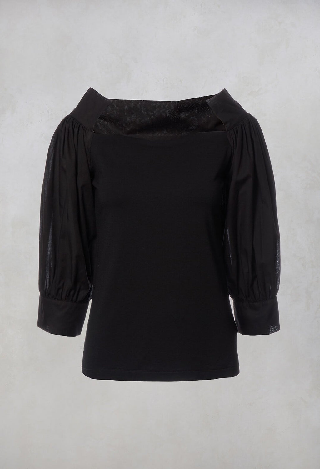 Wide Neck Top in Black