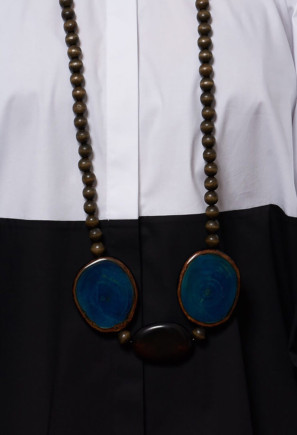 Wood Stones and Wooden Element with Resin Necklace in Blue