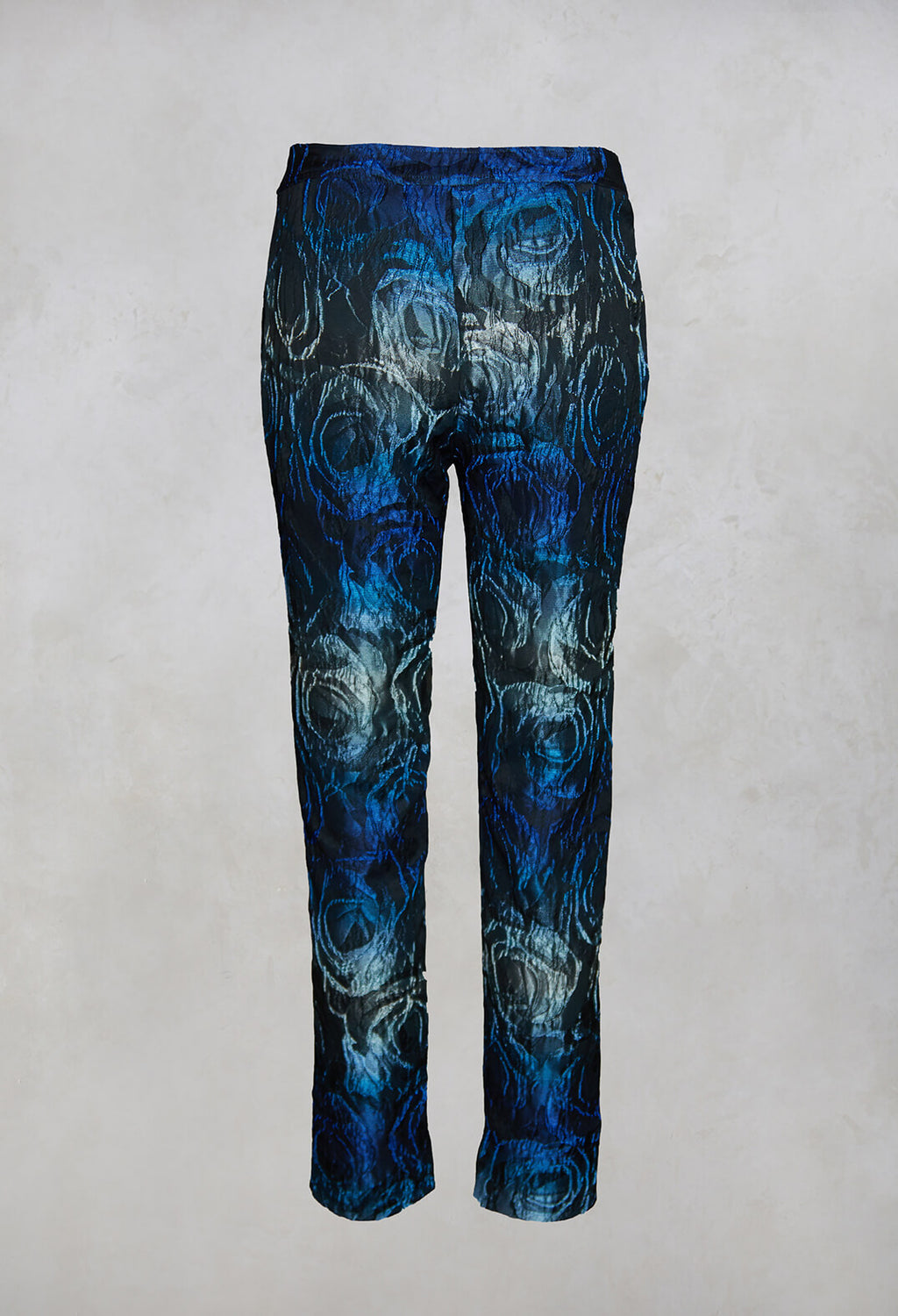 Floral Straight Leg Trousers in Electric Blue
