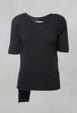 Colmar Jersey T Shirt with Ribbed Effect in Black