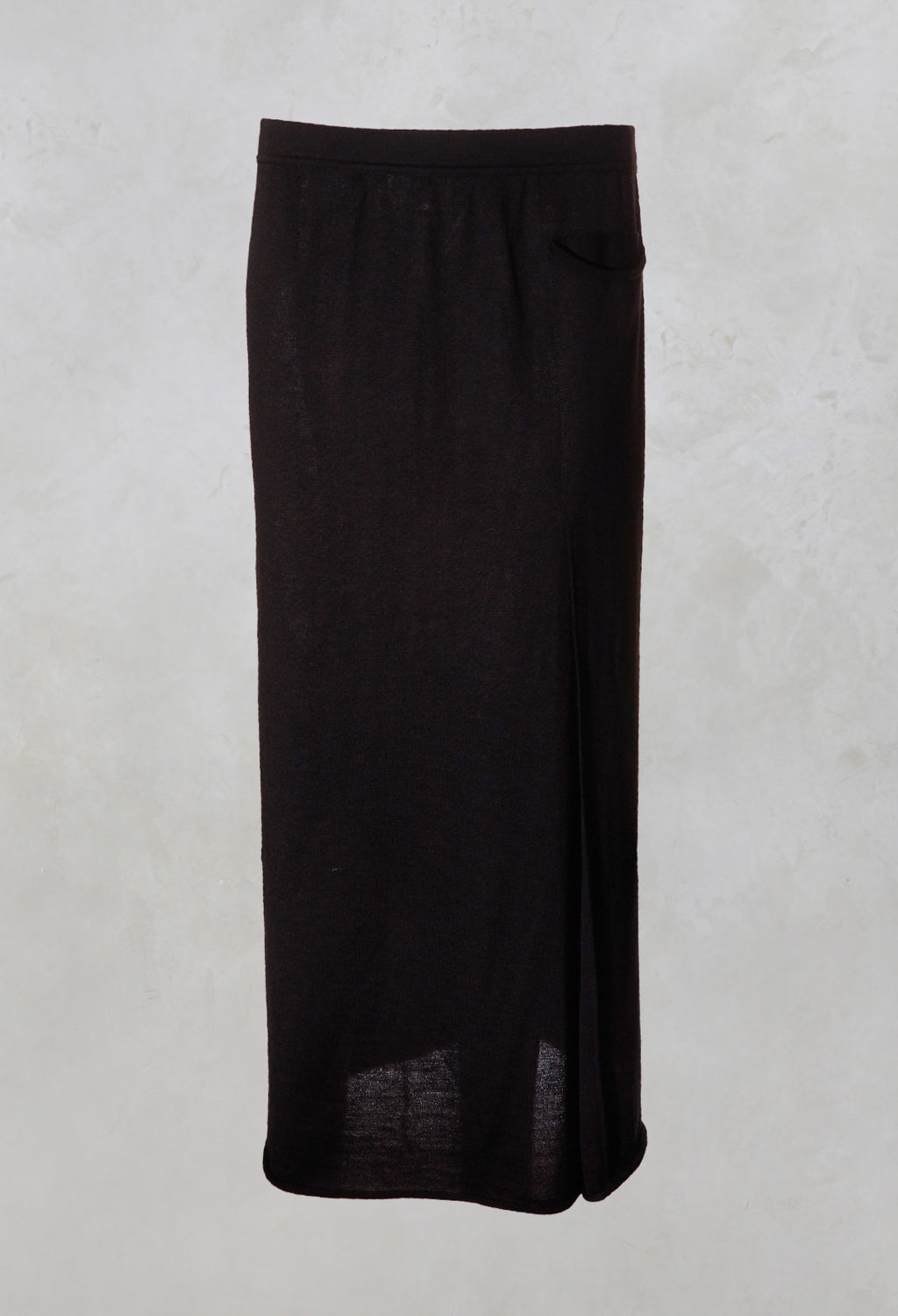 Long Fine Knit Skirt with Pocket in Black