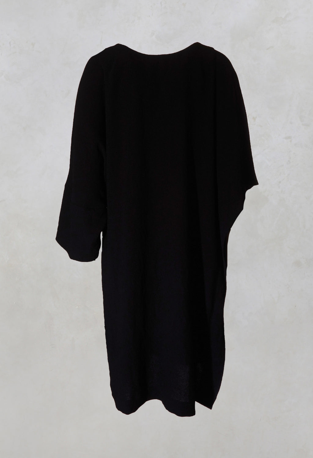Woven Dress with Asymmetric Sleeves in Black