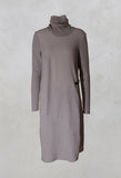 Roll Neck Woven Dress in Stone