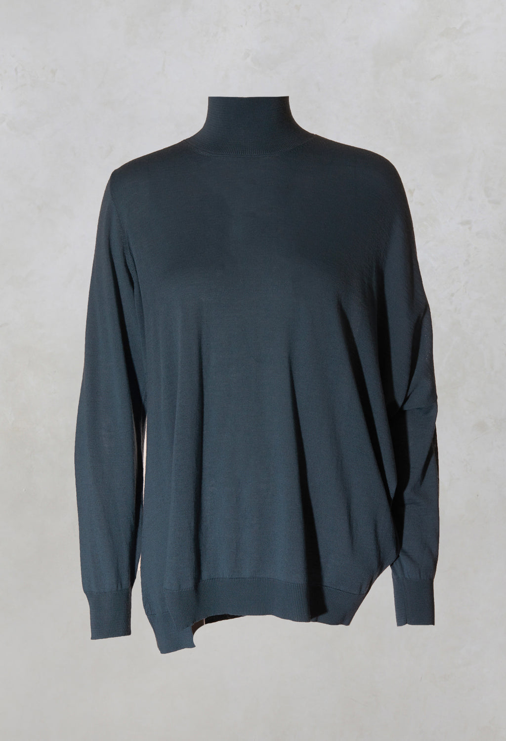 Polo Neck Pullover with Drop Sleeve in Teal