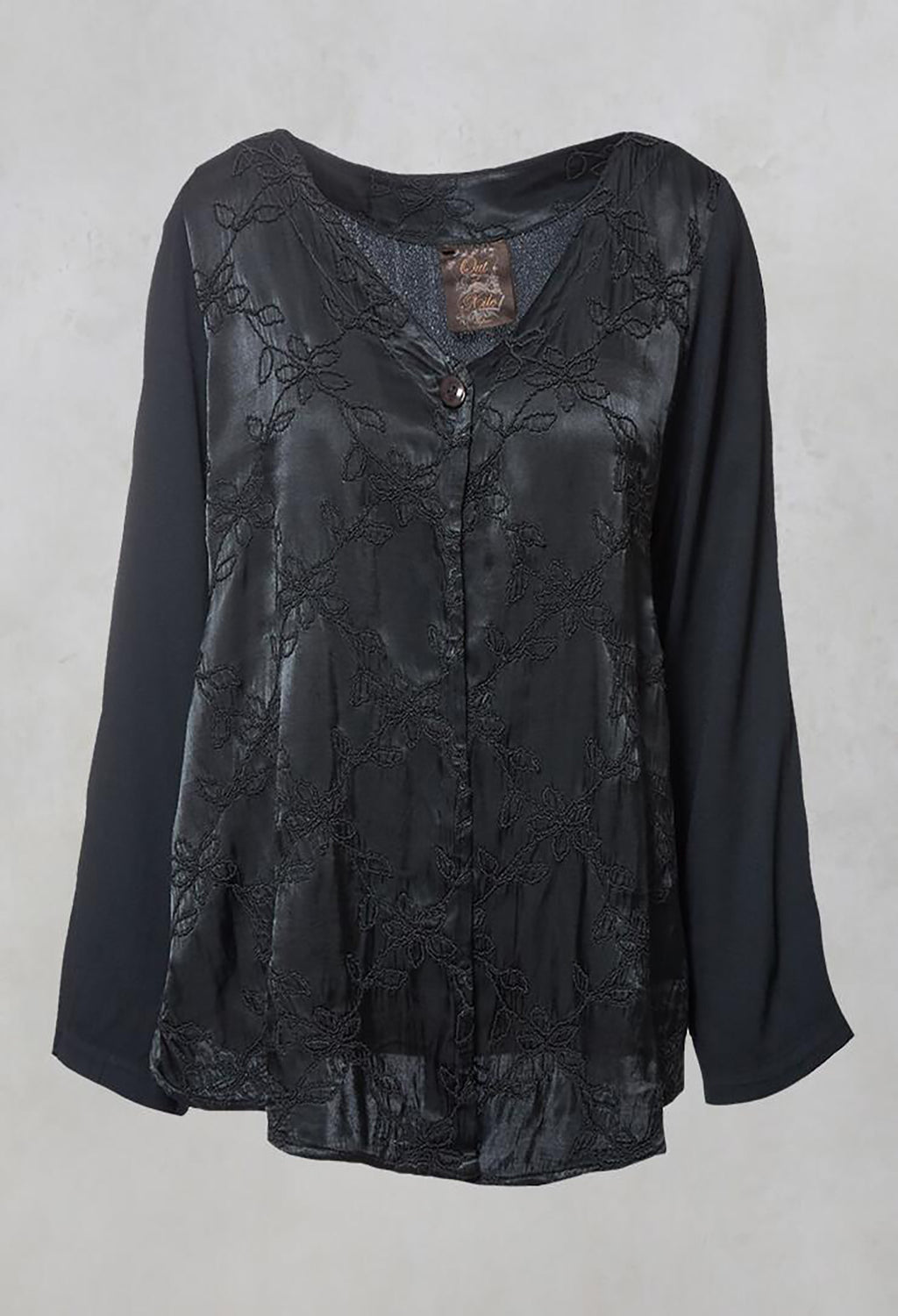 Satin Front Jacket with Embroidery in Storm