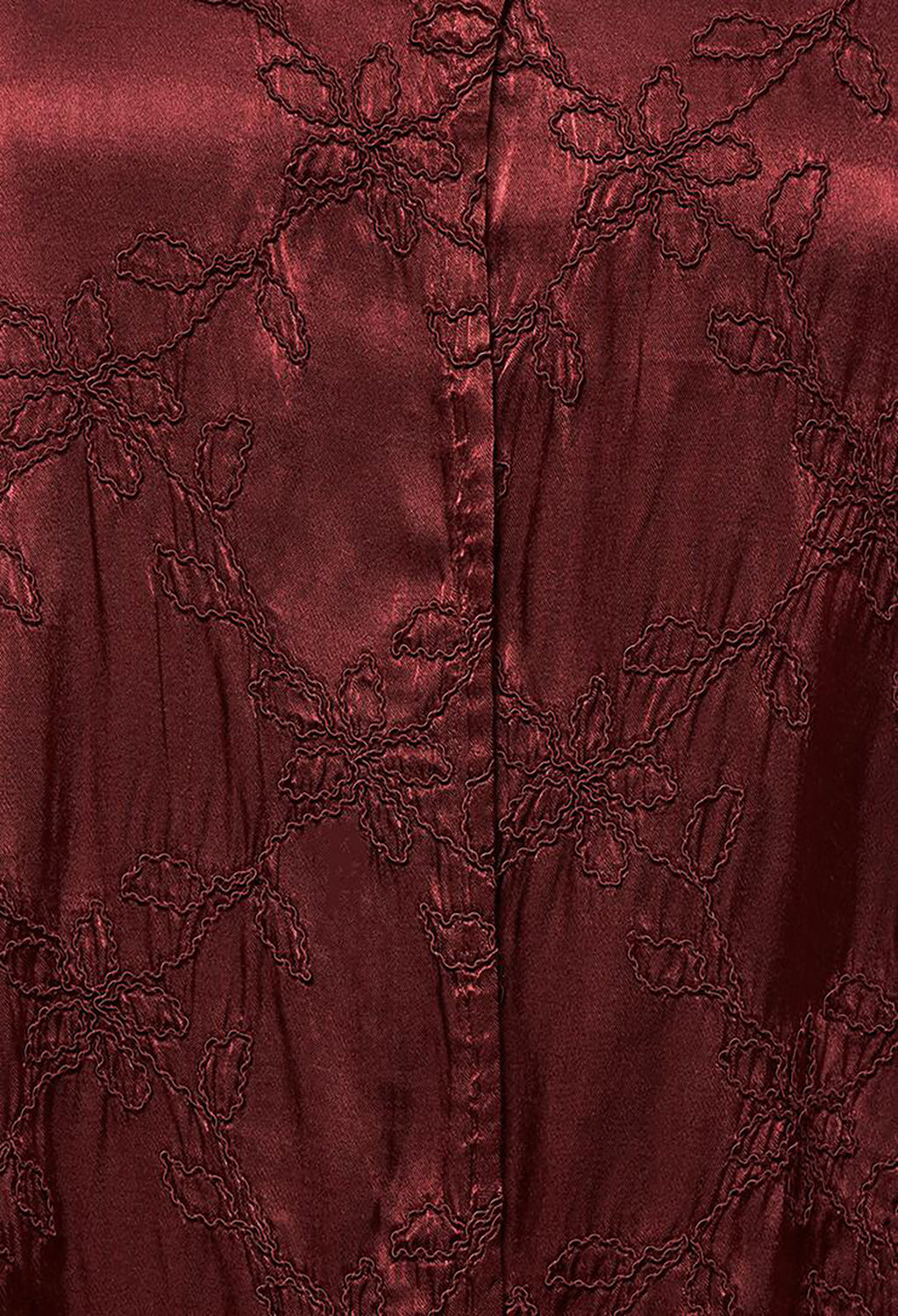 Satin Front Jacket with Embroidery in Burgundy