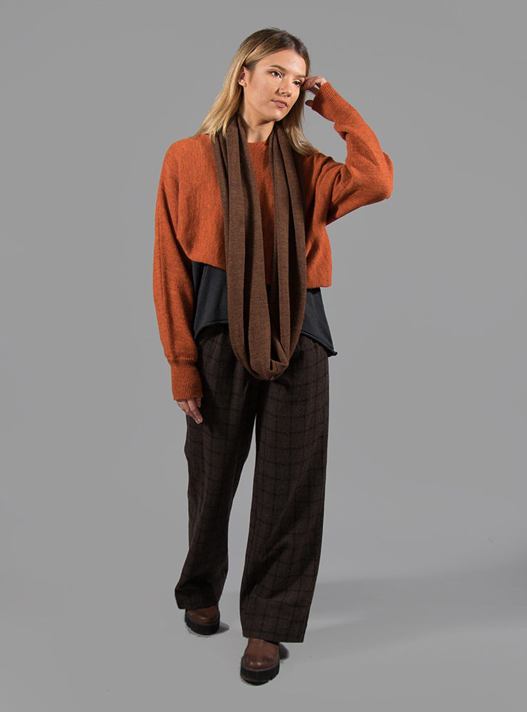 Wide Trousers with Button Front in Brown